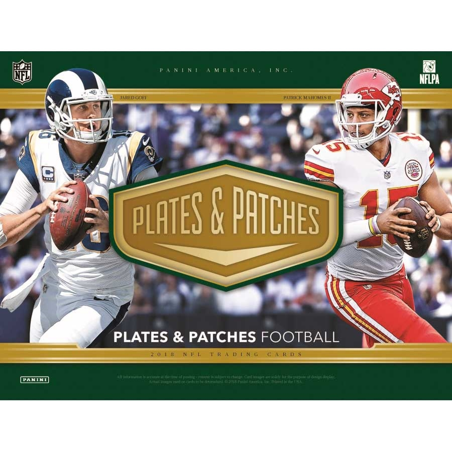 new product a7eee a16f0 2018 PANINI PLATES & PATCHES FOOTBALL - HOBBY (92754)