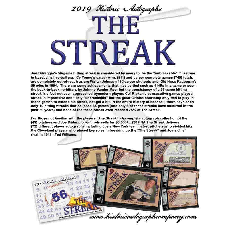 2019 HISTORIC AUTOGRAPHS THE STREAK BASEBALL