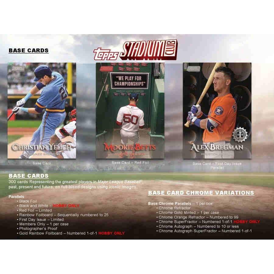 2019 Topps Stadium Club Baseball Hobby