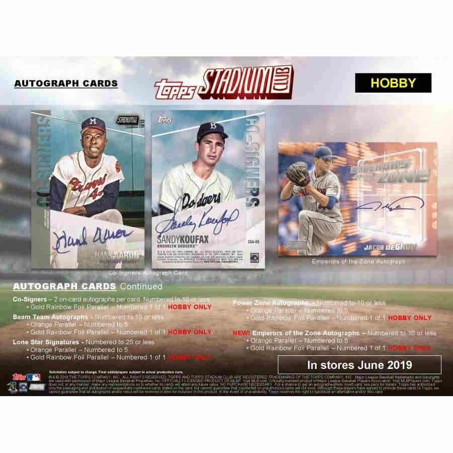 2019 Topps Stadium Club Baseball Hobby