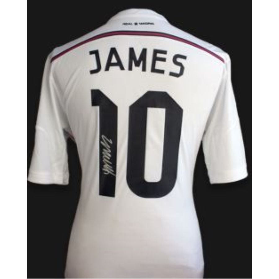 cheap for discount 105f5 05384 JAMES RODRIGUEZ SIGNED REAL MADRID 2014/15 HOME SHIRT W/FAN STYLE NUMBERS