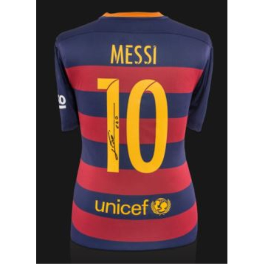 new products a6bb5 ae491 LIONEL MESSI BACK SIGNED FC BARCELONA 2015-16 HOME SHIRT WITH FAN STYLE  NUMBERS