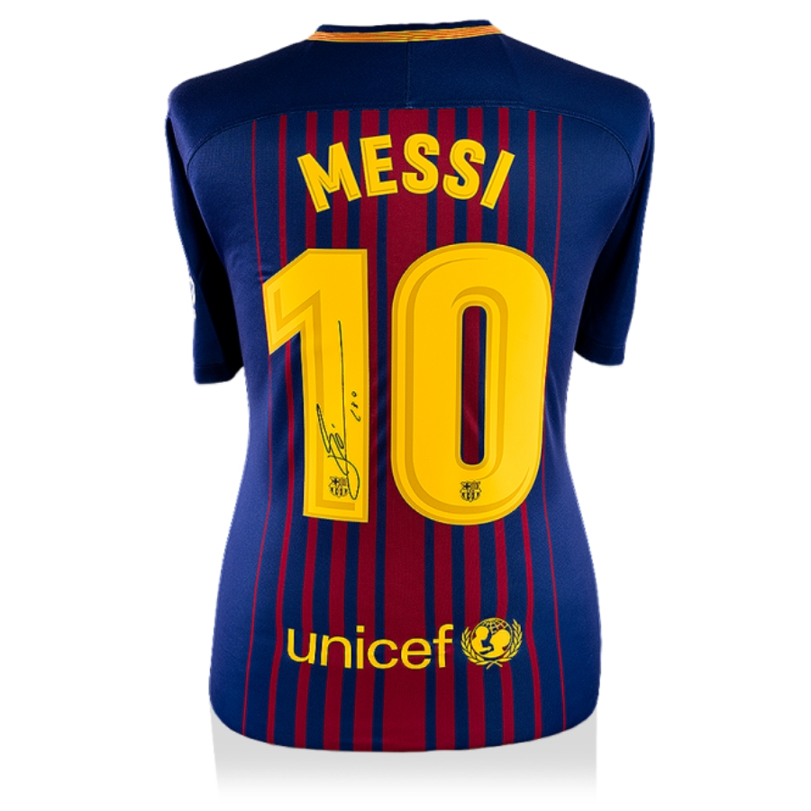 new style 99a49 193ad LIONEL MESSI OFFICIAL BACK SIGNED BARCELONA 2017-18 HOME SHIRT