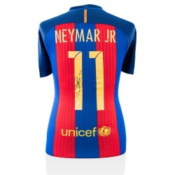 6b3691daa50 NEYMAR JR BACK SIGNED BARCELONA 2016-17 HOME SHIRT WITH FAN STYLE NUMBERS