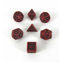 CELTIC 3D REVISED DICE SET (7) RED AND BLACK