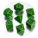 CELTIC 3D DICE SET (7 DICE) IN GREEN AND BLACK