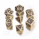 CELTIC 3D DICE SET (7) BEIGE AND BLACK