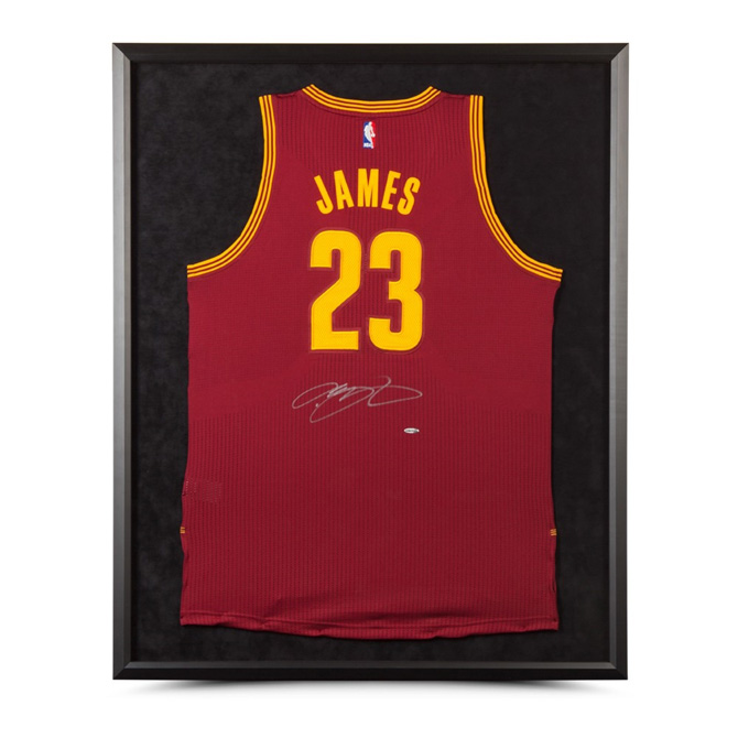 LEBRON JAMES AUTOGRAPHED   FRAMED CLEVELAND CAVALIERS AUTHENTIC MAROON  JERSEY 918a0610d
