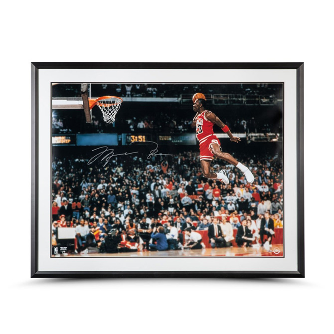 02a85aba4a5 MICHAEL JORDAN AUTOGRAPHED 1988 SLAM DUNK FRAMED PHOTO 30X40
