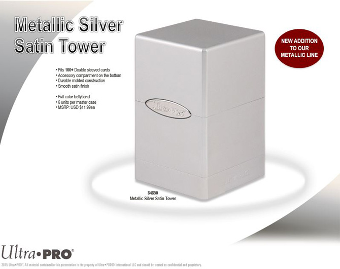 Silver Ultra Pro GAMING SUPPLY BRAND NEW Metallic Satin Tower Deck Box